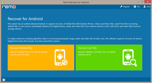 Recover Deleted Photos from HTC Sensation - Select Recovery option